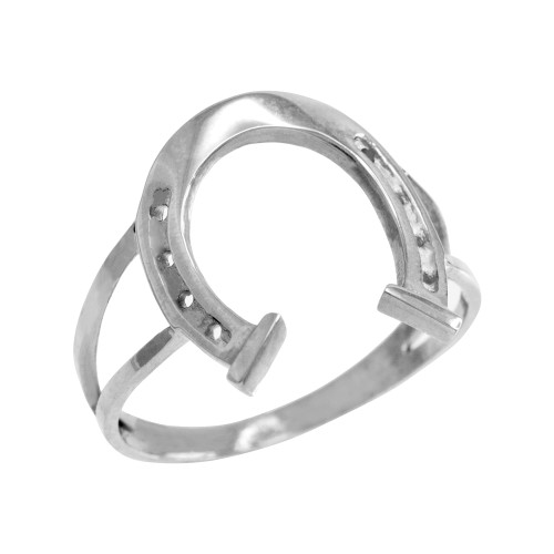White Gold Classic Good Luck Horseshoe Ring