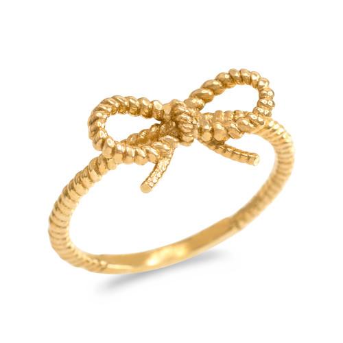 Gold Ribbon Bow Roped Ring