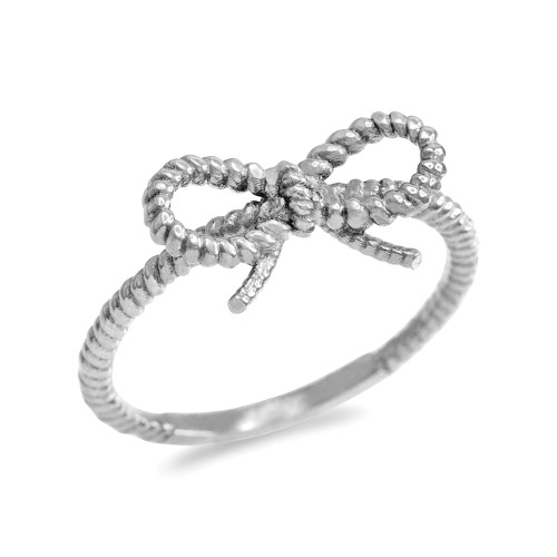 White Gold Ribbon Bow Roped Ring