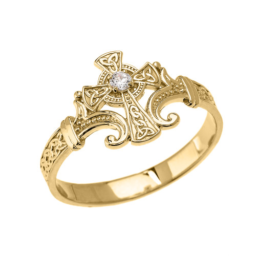 Yellow Gold Solitaire Cubic zirconia Celtic Cross With Trinity Design Elegant Ring