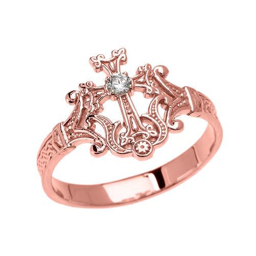 Rose Gold Solitaire Diamond Armenian Cross Elegant Ring