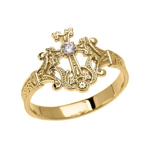 Yellow Gold Solitaire Cubic zirconia Armenian Cross Elegant Ring