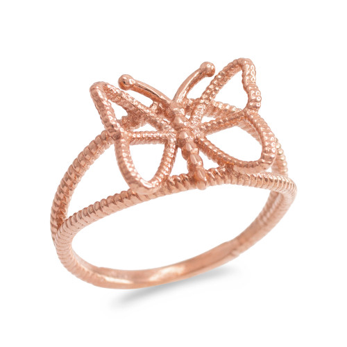Rose Gold  Open Design Butterfly Ring
