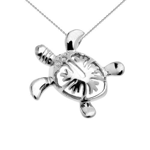 White Gold Diamond Hawaiian Honu Turtle Hidden Bail Pendant Necklace