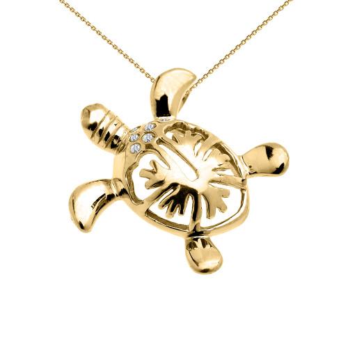 Yellow Gold Diamond Hawaiian Honu Turtle Hidden Bail Pendant Necklace