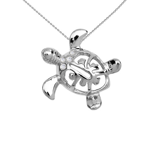 White Gold Diamond Hawaiian Lucky Charm Honu Turtle Hidden Bail Pendant Necklace
