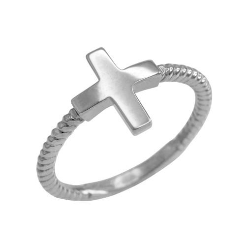 Sterling Silver Roped Sideways Cross Ring
