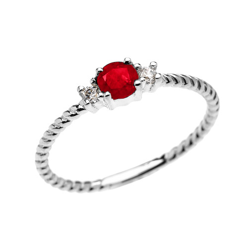 White Gold Dainty Solitaire Ruby and White Topaz Rope Design Promise/Stackable Ring