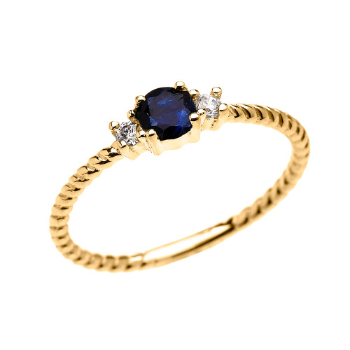Yellow Gold Dainty Solitaire Sapphire and White Topaz Rope Design Promise/Stackable Ring