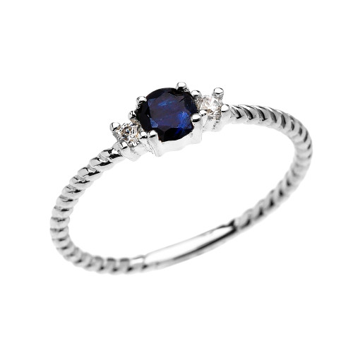 White Gold Dainty Solitaire Sapphire and White Topaz Rope Design Promise/Stackable Ring