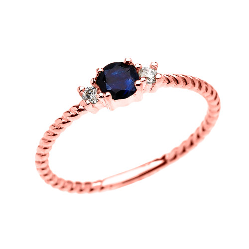 Rose Gold Dainty Solitaire Sapphire and White Topaz Rope Design Promise/Stackable Ring