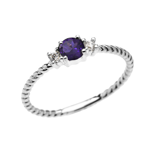 White Gold Dainty Solitaire Amethyst and White Topaz Rope Design Promise/Stackable Ring