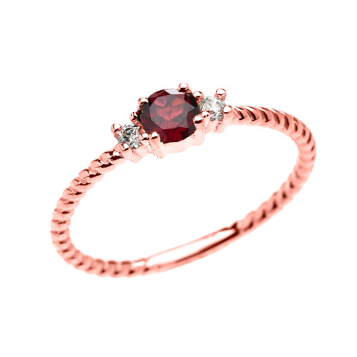 Rose Gold Dainty Solitaire Garnet and White Topaz Rope Design Promise/Stackable Ring