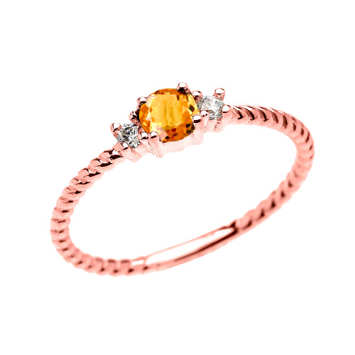 Rose Gold Dainty Solitaire Citrine and White Topaz Rope Design Promise/Stackable Ring