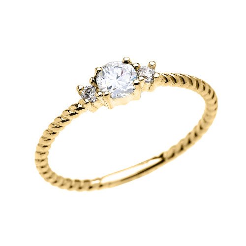 Yellow Gold Dainty Solitaire White Topaz Rope Design Promise/Stackable Ring