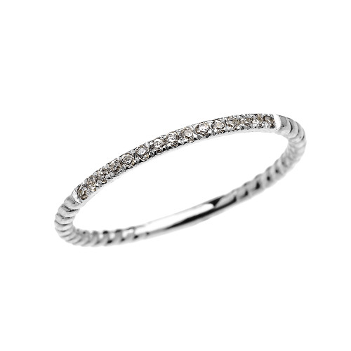 Dainty White Gold Diamond Stackable Rope Design Ring