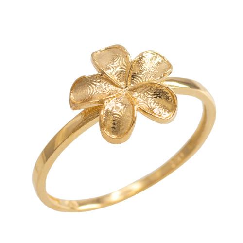 Gold Smooth Hawaiian Plumeria Flower Ring