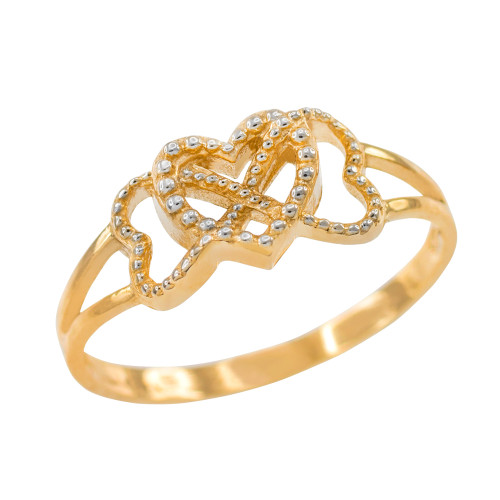Two Tone Gold Textured Infinity Heart Ring
