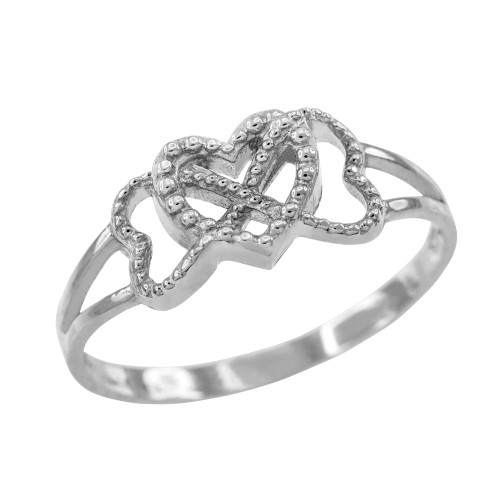 White Gold Textured Infinity Heart Ring