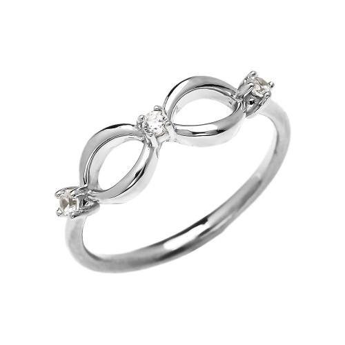 Three Cubic Zirconia Dainty Infinity White Gold Ring