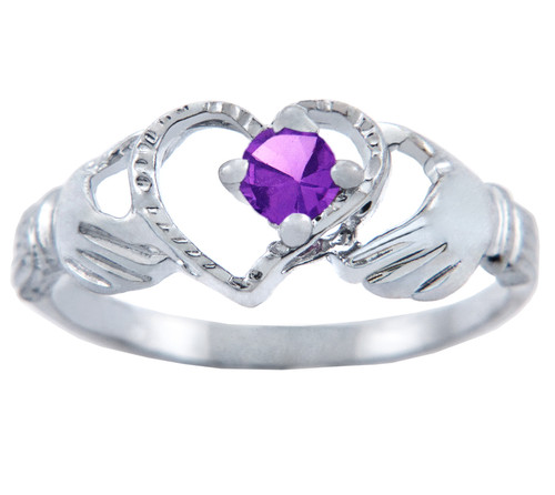 Silver Claddagh Heart Ring with Amethyst CZ Stone