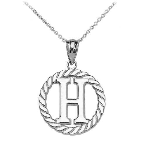 """Sterling Silver """"H"""" Initial in Rope Circle Pendant Necklace"""