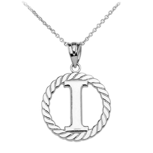 """Sterling Silver """"I"""" Initial in Rope Circle Pendant Necklace"""