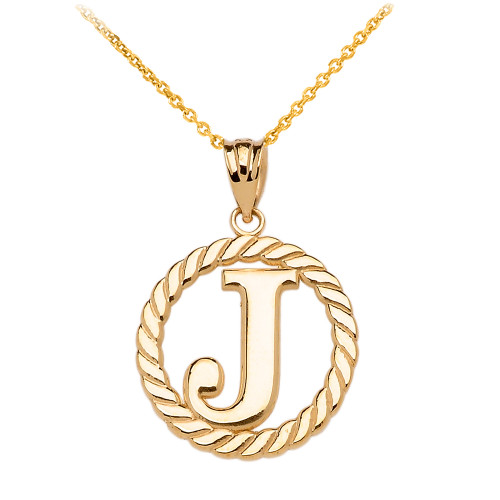 """Yellow Gold """"J"""" Initial in Rope Circle Pendant Necklace"""