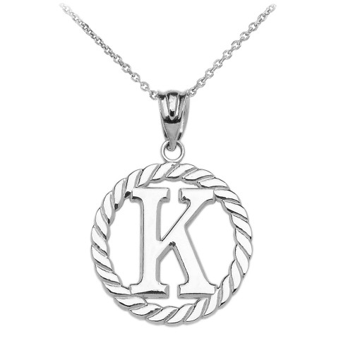 """White Gold """"K"""" Initial in Rope Circle Pendant Necklace"""