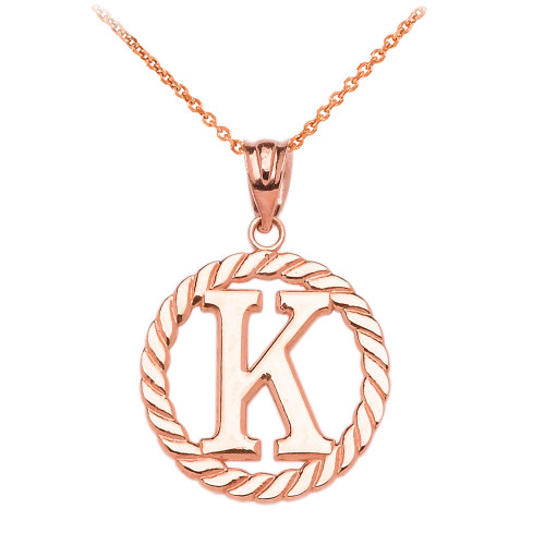 """Rose Gold """"K"""" Initial in Rope Circle Pendant Necklace"""