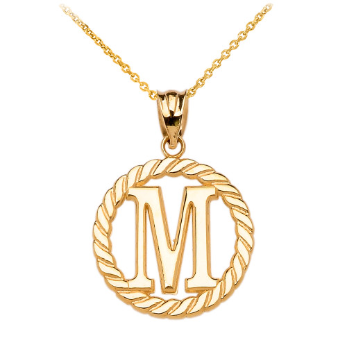 """Yellow Gold """"M"""" Initial in Rope Circle Pendant Necklace"""