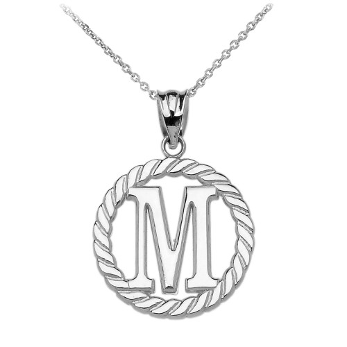"""White Gold """"M"""" Initial in Rope Circle Pendant Necklace"""