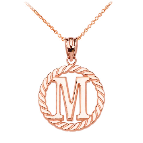 """Rose Gold """"M"""" Initial in Rope Circle Pendant Necklace"""