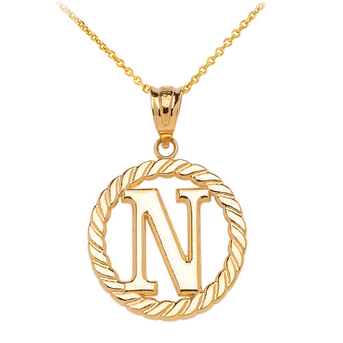 """Yellow Gold """"N"""" Initial in Rope Circle Pendant Necklace"""