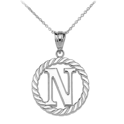 """Sterling Silver """"N"""" Initial in Rope Circle Pendant Necklace"""