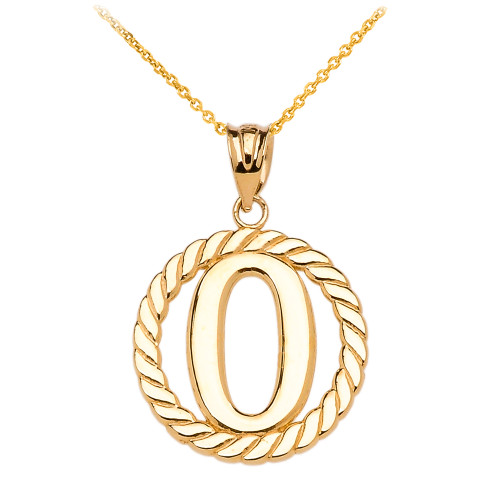 """Yellow Gold """"O"""" Initial in Rope Circle Pendant Necklace"""