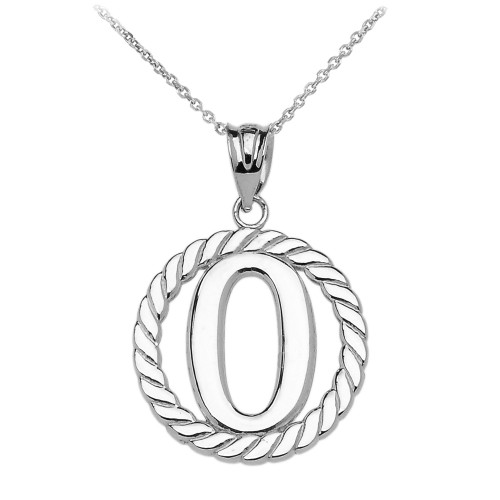 """White Gold """"O"""" Initial in Rope Circle Pendant Necklace"""