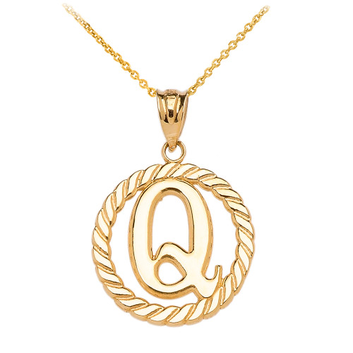 """Yellow Gold """"Q"""" Initial in Rope Circle Pendant Necklace"""
