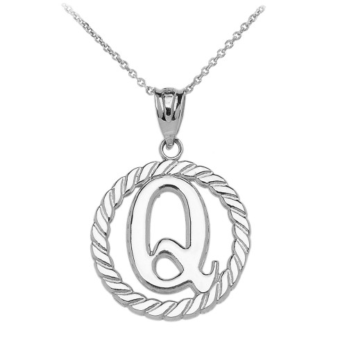 """White Gold """"Q"""" Initial in Rope Circle Pendant Necklace"""