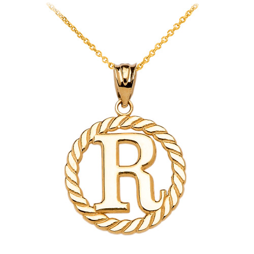 """Yellow Gold """"R"""" Initial in Rope Circle Pendant Necklace"""