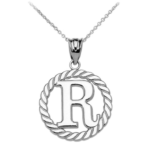 """White Gold """"R"""" Initial in Rope Circle Pendant Necklace"""