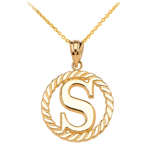 """Yellow Gold """"S"""" Initial in Rope Circle Pendant Necklace"""