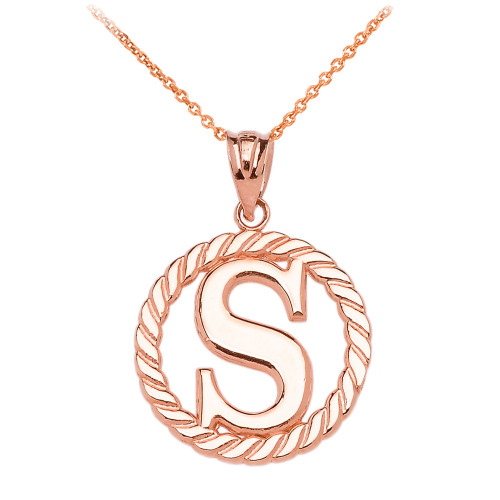 """Rose Gold """"S"""" Initial in Rope Circle Pendant Necklace"""