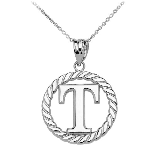 """White Gold """"T"""" Initial in Rope Circle Pendant Necklace"""