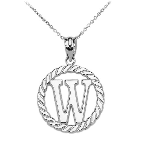 """White Gold """"W"""" Initial in Rope Circle Pendant Necklace"""