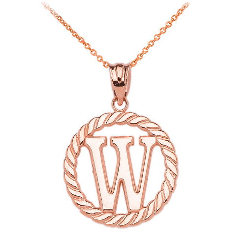 """Rose Gold """"W"""" Initial in Rope Circle Pendant Necklace"""