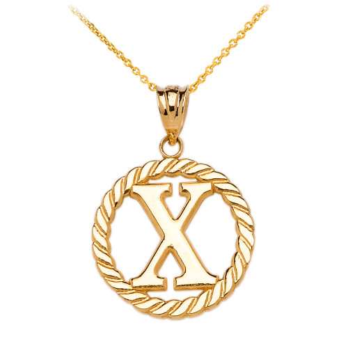 """Yellow Gold """"X"""" Initial in Rope Circle Pendant Necklace"""