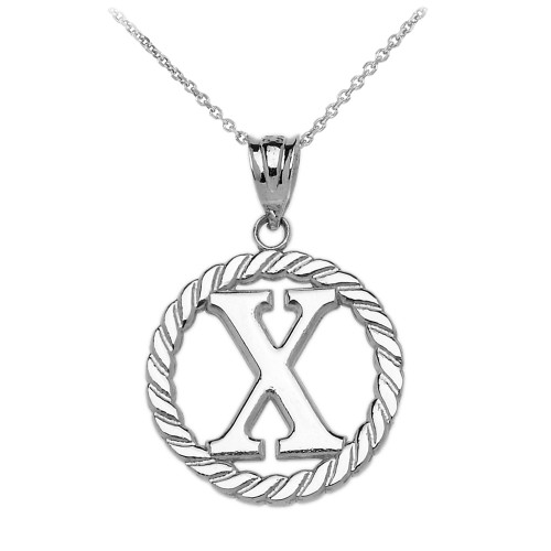 """White Gold """"X"""" Initial in Rope Circle Pendant Necklace"""
