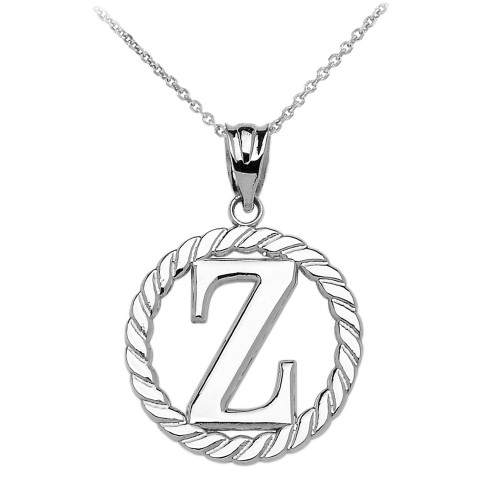"""White Gold """"Z"""" Initial in Rope Circle Pendant Necklace"""