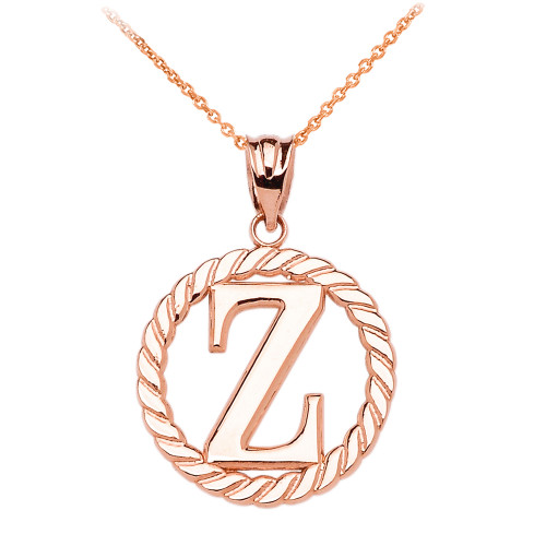 """Rose Gold """"Z"""" Initial in Rope Circle Pendant Necklace"""